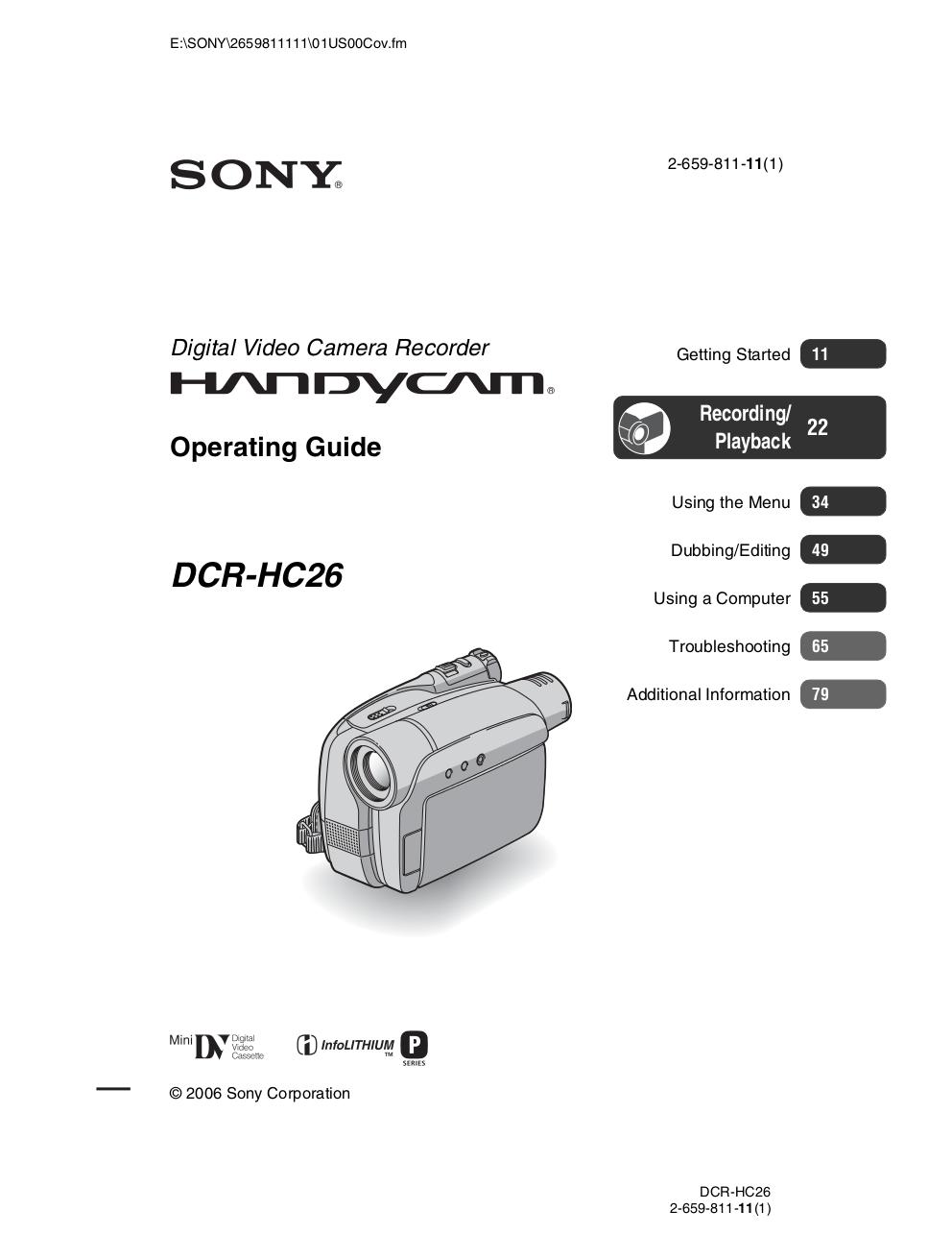 download free pdf for sony handycam dcr hc26 camcorders manual rh umlib com sony handycam user guide sony handycam user guide